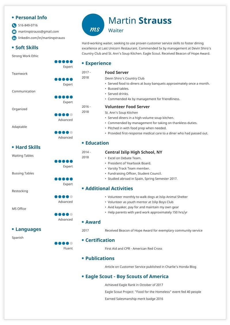teen resume template with blue elements