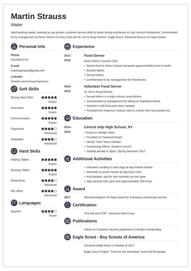 purple resume template for teenagers