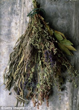Dried herbs bound with string